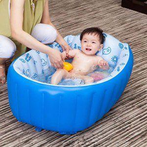 pepeng 0-3ans bébé Baignoire gonflable de transport, 90x 45x 28cm portable Mom Assistant pour les vacances de douche (Vert, foot-pump…