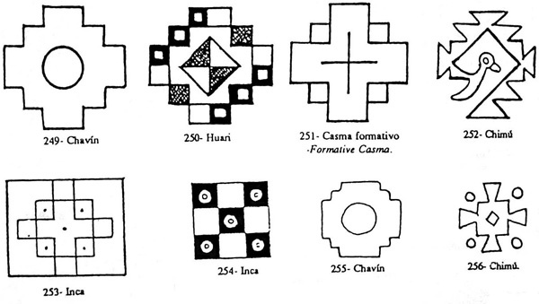 Iconografia de cruces. La primer en Perú se conoce como la chakana, cruz que une los mundo de arriba y de abajo y en el centro estamos nosotros en la tierra