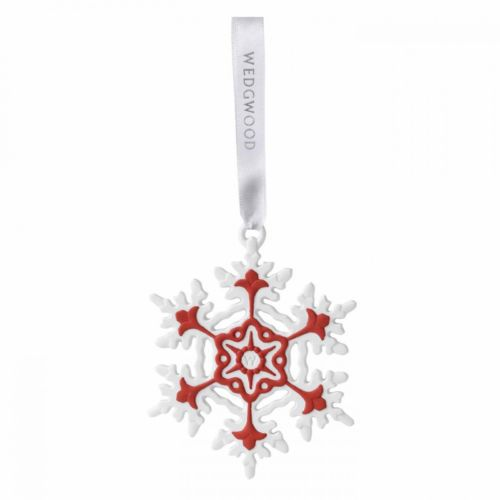 NEW-Wedgwood-Christmas-Red-Snowflake-Ornament