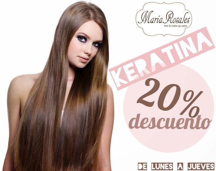 20% de DESCUENTO en vuestro tratamiento de #keratina durante el mes de Julio #MaríaRosales #peluquería