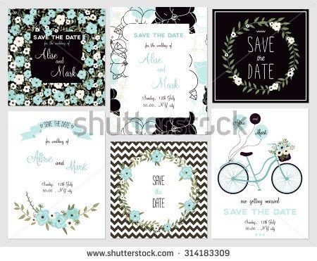 6 sevimli kart şablonları koleksiyonu.  Düğün, evlilik, tarih, bebek duş, gelin…