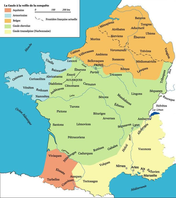Les différents pleules qui habient La Gaule. A lire, l'article sur le peuplement de la France en lien avec cette carte (journal Le Parisien).