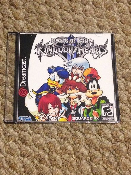 Kingdom Hearts for the Sega Dreamcast. This is a homebrew game on a custom disc. It is a beats of rage style game (similar to Streets of Rage and Final Fight). It comes with a front insert in a slimline jewel case. This game will work on a standard Sega Dreamcast. No modding or boot up disc requi...