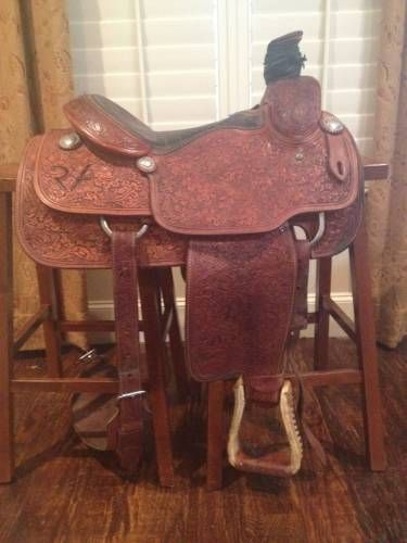 Used Jay Nordley Fully Tooled Roping Saddle for Sale - For more information click on the image or see ad # 35369 on www.RanchWorldAds.com