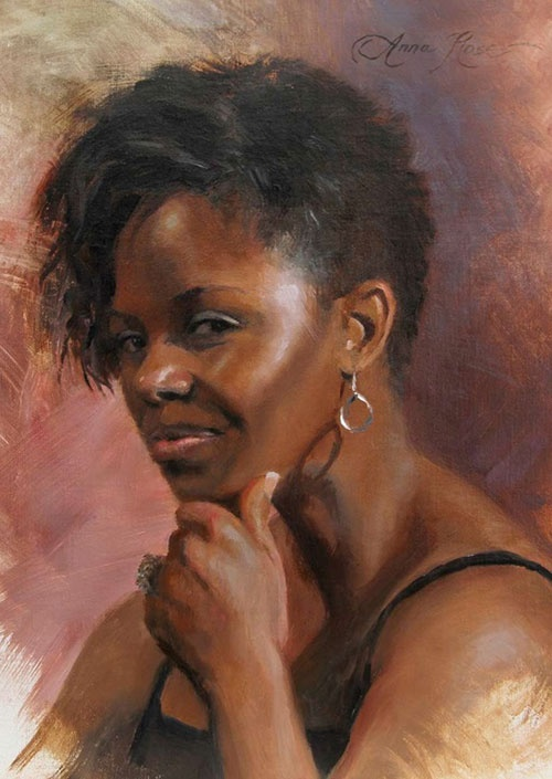 Artist: Anna Rose Bain {contemporary figurative female head art african-american black woman face portrait oil painting}