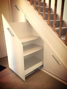 Under stair storage. Pullout storage cabinets. Bespoke Handmade