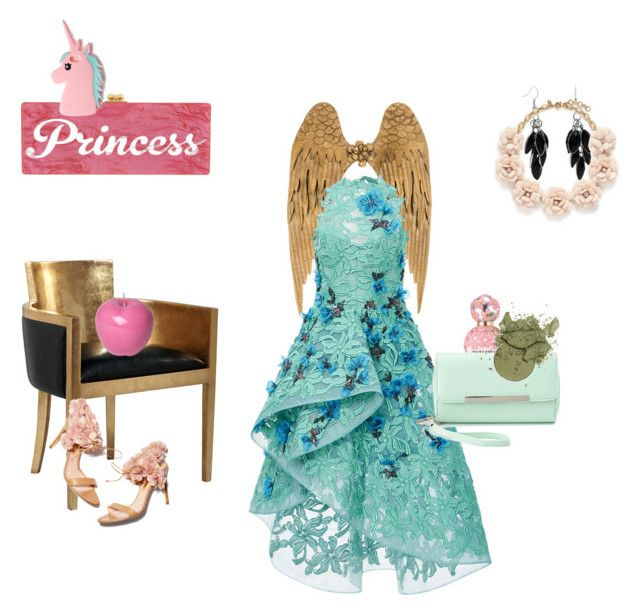 """""""Pink-turquise Princess3"""" by rongylady ❤ liked on Polyvore featuring Monique Lhuillier, Edie Parker, Bitossi, Missguided, Alexa Starr, J.Crew, Rupert Sanderson, Marc Jacobs and Charlotte Russe"""