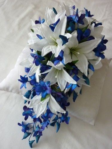 Blue Kiss Bridal Bouquet. This would be BEAUTIFUL!!! With your colors! :) <3