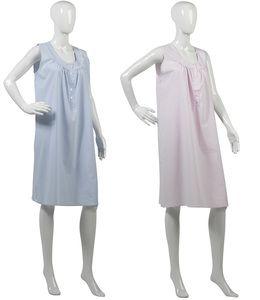 Ladies Slenderella Striped Sleeveless Nightdress UK S-XL (Blue or Pink Stripes)