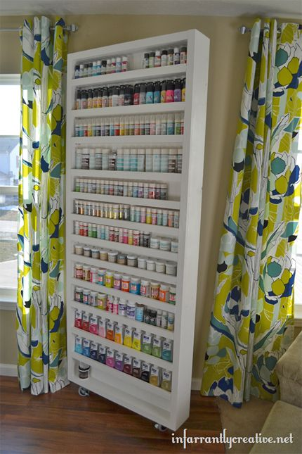 11 Craft Room Projects to Organize and Beautify Your Space - @CraftBits & CraftGossip - framing for bead shelves