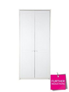 Alderley Ready Assembled 2-door Wardrobe in Cream/Oak-Effect or White This wardrobe from the Alderley collection of furniture is an ideal choice if you're looking to give your bedroom a traditional cottage-style design.Carefully styled with authentic routed detail to the doors, it's available in a full white finish or sumptuous cream with oak-effect top and handles.Inside there's a metal hanging rail and high storage shelf, and it will even arrive at your home ready assembled*, so you can…