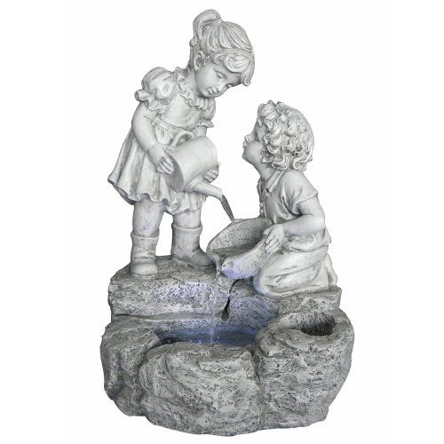 Wonderful Boy U0026 Girl Water Fountain W/ LED Lights U0026 Planter: Cast Resin, Great Garden  Fountain For Outdoor Living Spaces.
