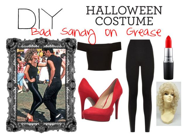 """DIY: Bad Sandy on Grease"" by kaylee-ellsworth ❤ liked on Polyvore featuring SPANX, Jessica Simpson, MAC Cosmetics, halloweencostume and DIYHalloween"