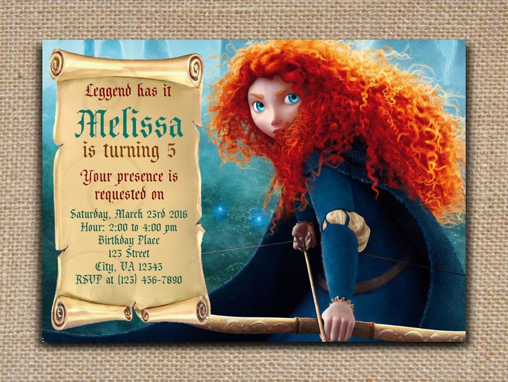 BRAVE Merida INVITATION DIY Text Editable and Printable PDF File in Adobe reader #SweetieCakeToppers #AnyOccasion
