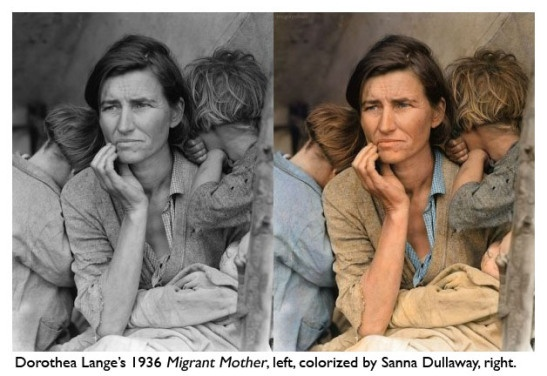 "1936, Florence Owens Thompson seen in the photo ""Destitute Pea Pickers in California, Mother of Seven Children"", by Dorothea Lange.  Colorized by Sanna Dullaway."