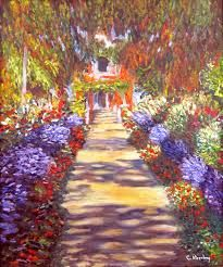 monets garden at giverny essay In monet's the artist's garden at giverny, painted in 1900, we see rows of color on the bottom half monet paints rows of irises glistening in shades of violet.