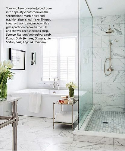 Master Bath Renovation Ideas   Angular Free Standing Tub Tucked In Next To  Frameless Shower; Love The Marble Tiles