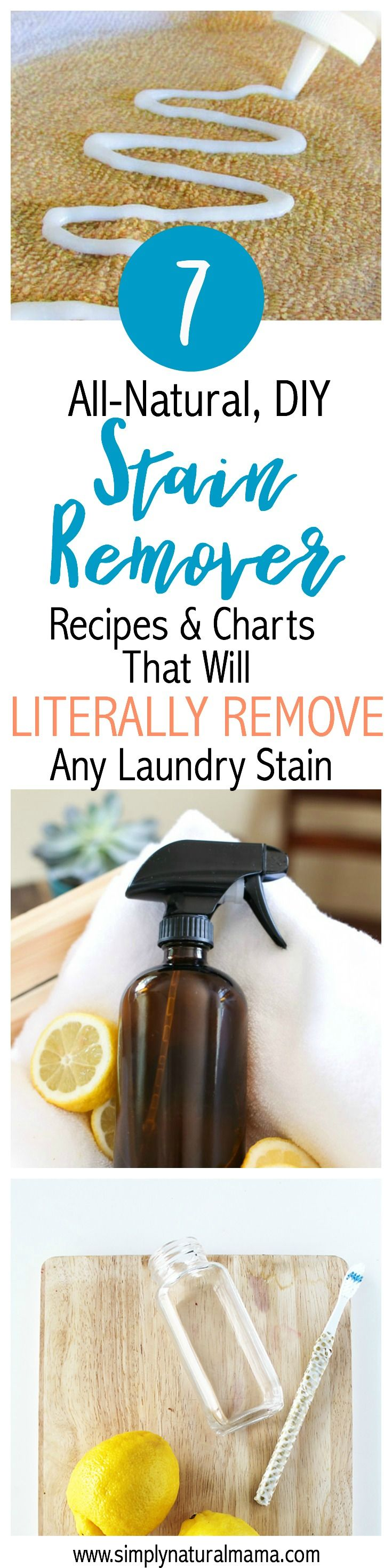 Every time I find a stain on my clothes, I get so frustrated! And I hate using toxic chemicals. That's why I am so glad I found this article. It has recipes and charts to remove any kind of laundry stain you can imagine. I am going to reference this again and again. via @simplynaturalma