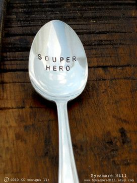 Souper Hero Hand-Stamped Spoon by Sycamore Hill contemporary flatware