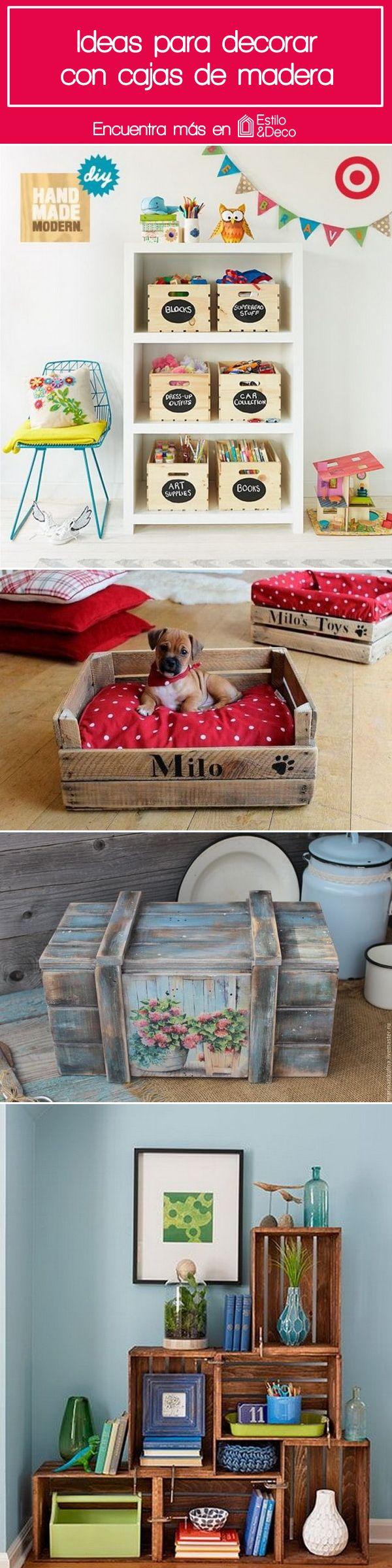 Ideas para decorar con cajas de madera. Decoración con cajas de madera. Huacales de madera reciclados.