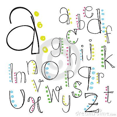 Doodle Alphabet Polices Girly Dessines A La Main Par PinkPueblo
