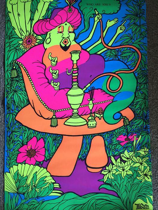 Alice in Wonderland True Vintage Psychedelic Caterpillar Black Light Poster 1970