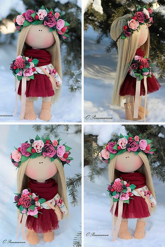 Love doll Fabric doll Tilda doll pink red by AnnKirillartPlace