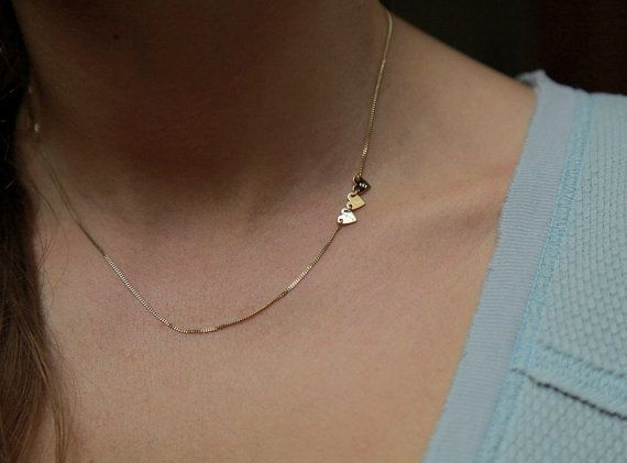 Sideways Initial Necklace Two initial Necklace Three by MinimalVS