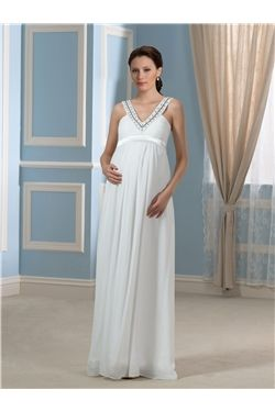 A-line Zipper-up Empire V-Neck Maternity Floor-Length Sleeveless Spring Wedding Dress