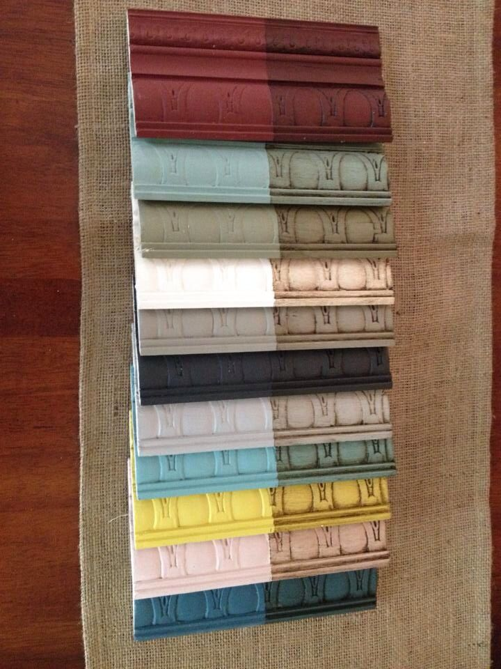 Ok top to bottom: Primer Red, Duck Egg, French Linen, Pure White, Coco, Graphite, Paris Grey, Provence, English Yellow (I think), Antoinette, and Abusson Blue.