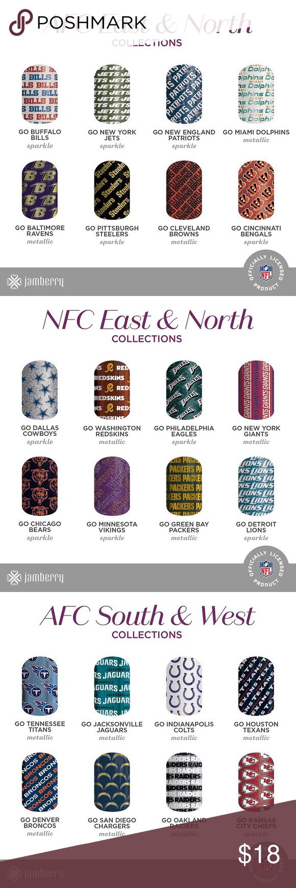 All 32 NFL collection by Jamberry volume 2 OUR NFL Collections by jamberry  volume 2 are in! Who's ready to get hands and toes sporting their team!  Even better news buy 3 get 1 free deals are included!! Yay!!!!   Don't forget if you order you get A FREE HALF A SHEET BY ME! :) Other