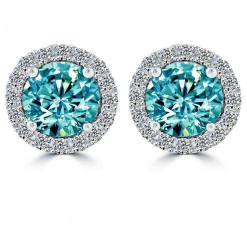 This Beautiful Pair Of Diamond Stud Earrings Are Set With Ctw Fancy Blue Round Brilliant Diamonds The Two In A