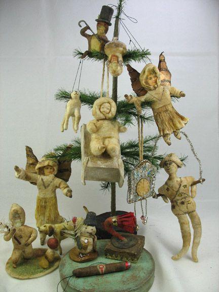 German spun cotton ornaments