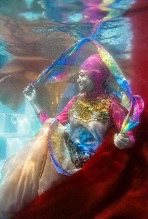 Underwater fashion photoshoot.