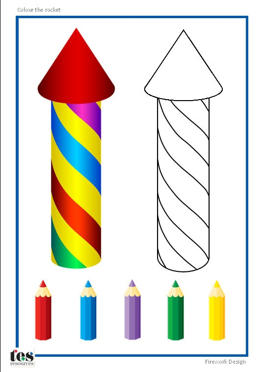 Colour the firework: a simple, visual copy and colour activity. 2 designs available