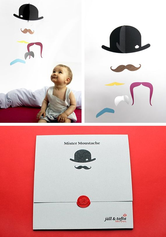 Moustache baby mobile