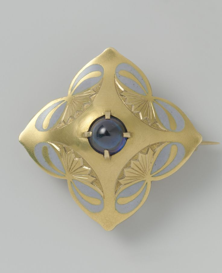 http://rubies.work/0457-sapphire-ring/ An Art Nouveau gold, enamel and star sapphire brooch, designed by Bert Nienhuis and made by Louis Willem van Kooten, Amsterdam, 1908-1910. Designed as a stylised flower, centring a star sapphire cabochon.