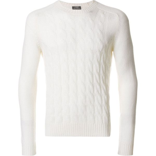 Barba cable knit jumper (€210) ❤ liked on Polyvore featuring men's fashion, men's clothing, men's sweaters, white, mens cable sweater, mens white sweater, mens white cable knit sweater, mens chunky cable knit sweater and mens cable knit sweater