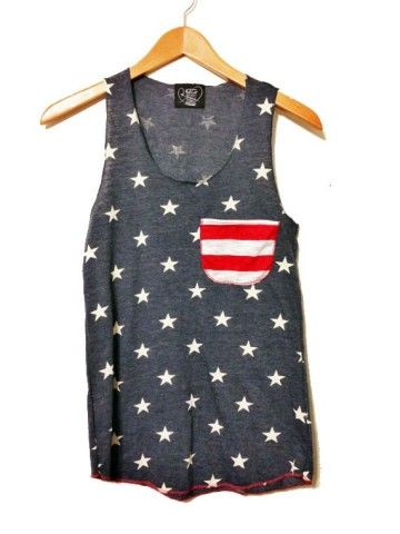 American Flag Tank Top //Pocket Tank// American Flag Clothing // Red White And Blue // Lady Liberty - $23