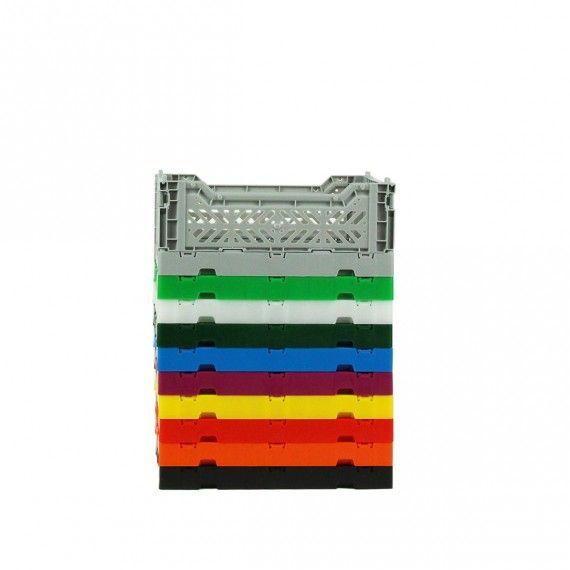 Mini Cagette en plastique vert foncé empilable et pliable