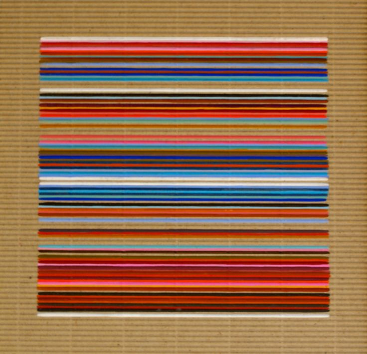 Five White Lines - gouache on corrugated card by Sarah Guppy @ Visual Culture