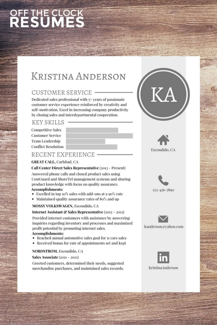 Customer Service Graphic Resume Example Off