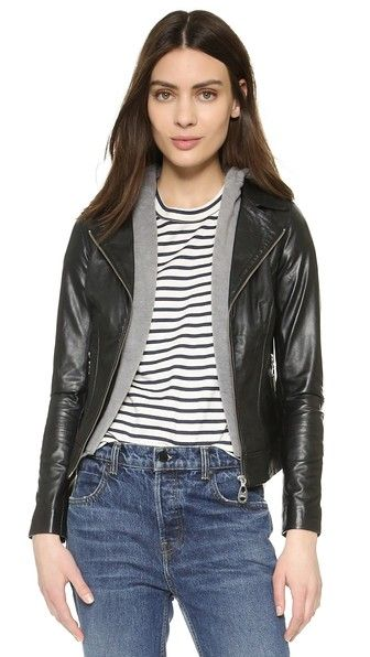 Black Doma  leather jacket  for woman A zip out hood adds a cozy touch to this sleek leather Doma jacket. Exposed zips at the placket, hip pockets, and gusseted cuffs. Lined. Fabric: Leather. Shell: 100% lambskin. Lining 1: 100% cotton. Lining 2: 100% polyester. Dry clean. Imported, India. Measurements Length: 20in / 51cm, from shoulder Measurements from size S. Available sizes: L,M,XS #chaquetadecuero #polipiel #biker #ante #anteflecos #pielflecos #polipielflecos #antelina #decuero #leather…