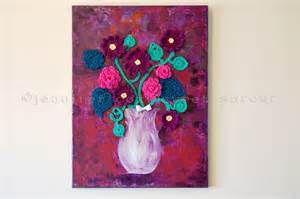 "... > Paintings > ""Purple Ground"" Original Painting + Crochet on Canvas"