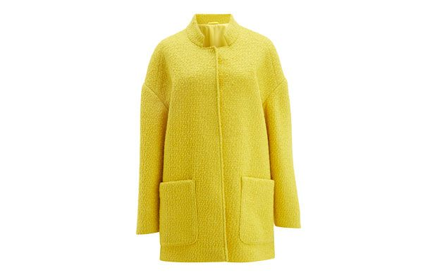 "Box Yellow Jacket. ""Cheerful and eye-catching, this boxy yellow jacket makes a welcome change from the classic winter palette."""