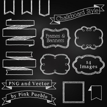 Chalkboard Frames and Banners Clipart and Vectors