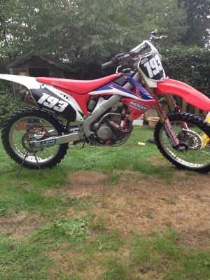 Two Honda CRF 250R Motocross Bikes.  One of two bikes stolen from Addlestone in Surrey.  Do you know where it is?