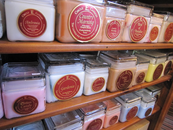 Circle E Candles, Fredricksburg, TX Showroom/corporate. A must if you go to Fredericksburg which is 1hr.1/2 away from Austin. These are the best candles. Very heavily scented. I use to go there all the time when I called on my physicians in Fredericksburg to stock up. They also ship.  Circle E Candles 4181 E US Highway 290 Fredericksburg, TX 78624