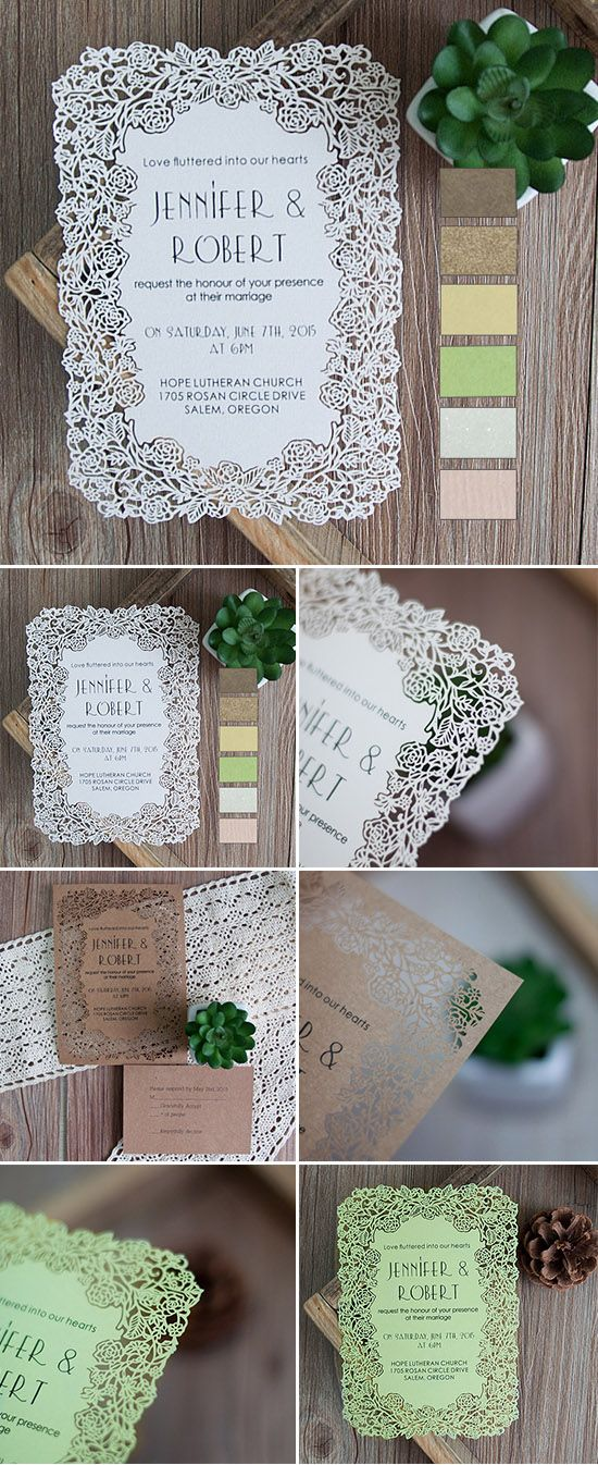 Elegant Flat Laser Cut Wedding Invitations with