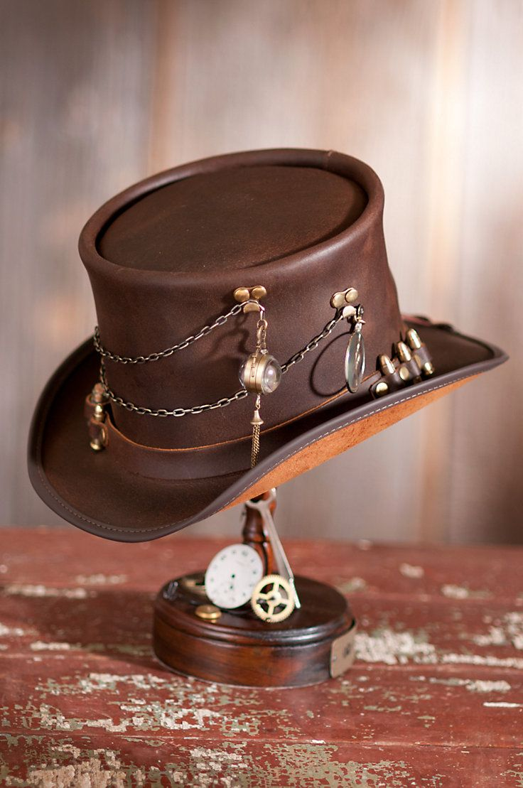 Steampunk Trinket Leather Top Hat with Ammo Hatband | Overland Sheepskin